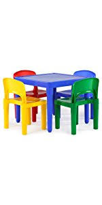 Plastic Table And Chairs Amazon Com Tot Tutors Kids Plastic Table And 4 Chairs Set