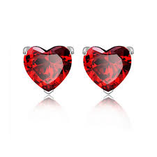 garnet stud earrings garnet heart women stud earring in s925 materail