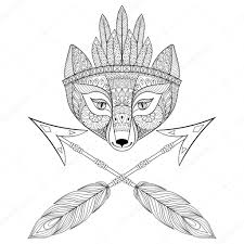 zentangle wild fox head with indian war bonnet and arrows hand