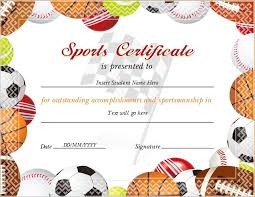 sports certificate for ms word download at http certificatesinn