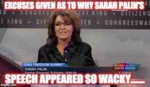 Sarah Palin Memes - meme d from the headline reason for palins nutty speech the