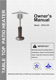tabletop patio heater garden sun heater hps c pc tabletop heater user manual 10 pages