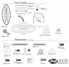 ceiling fan replacement parts hunter 23699 parts list and diagram ereplacementparts com