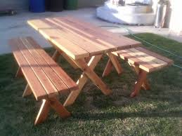Wooden Picnic Tables With Separate Benches Picnic Table With Separate Benches Plans Bench Ideas