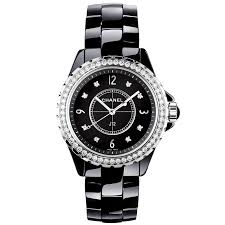 ceramic bracelet watches images Chanel j12 33mm black ceramic diamond dial bezel ladies watch jpg