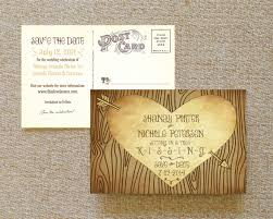 postcard save the dates carved tree postcard save the date