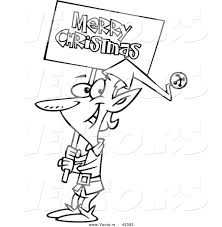 vector of a happy cartoon elf carrying a merry christmas sign