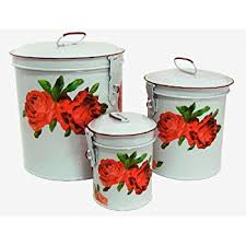 thl kitchen canisters amazon com white canister set w chic roses vintage