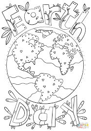 earth day doodle coloring page free printable coloring pages