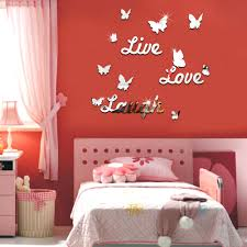 live laugh love quote vinyl wall stickers butterflies mirror home image