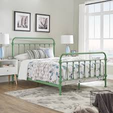 Bedroom Furniture Listers Antique Green Iron Metal Bed Frame Full Size Mid Century Farmhouse