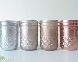 Copper Home Decor Pink Copper Rose Gold Decor Painted Mason Jars Home Decor