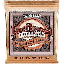 Light Guitar Strings by Ernie Ball 2146 Earthwood Phosphor Bronze Alloy Medium Light