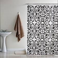 bathroom fixtures print character blue and tan shower curtain