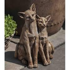 Outdoor Lion Statue by Siamese Cats Cast Stone Garden Statue