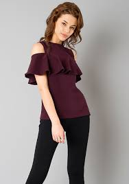 cold shoulder tops ruffled cold shoulder top wine online women s tops faballey