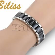 white ceramic bracelet images Black white ceramic bracelet magnetic stone therapy health jpg