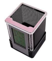 digital alarm table clock pen holder stand buy online at best