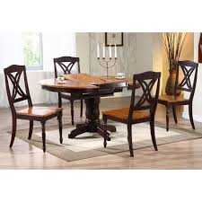 cyrus extending dining table round top pedestal base two tone
