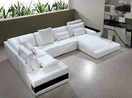 Leather U Shaped Sofa Modern White Leather