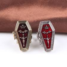 coffin ring retro style cross vire coffin ring for women men