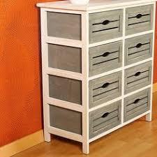 holzregal küche kommode im shabby design grau weiß mit 8 schubfächern holzregal