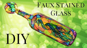 faux stained glass wine bottle diy using food coloring youtube
