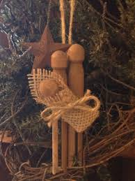 primitive christmas nativity rusty tin barn star wood clothespin