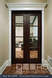 double interior door clear glass with grills custom wood