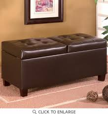 faux leather storage ottoman bench by coaster 501039