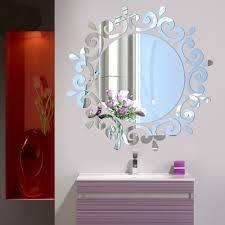 acrylic art modern 3d mirror round wall stickers diy home wall