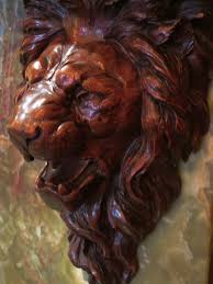 historic pleasant home carved lion head corbel on great hall