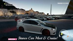 mitsubishi evo stance forza horizon 2 mitsubishi evo stance meet and cruise youtube