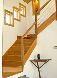 L Shaped Stairs Design with Stair Railing Ideas