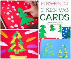fingerprint christmas tree cards with templates fun handprint art