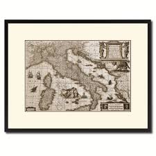 italy vintage sepia map canvas print picture frame gifts home