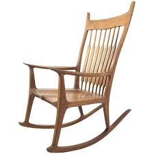 American Woodcraft Furniture American Walnut Craft Rocker In The Manner Of Sam Maloof For Sale