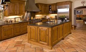 chicago knotty alder kitchen rustic with terra cotta flooring
