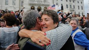 Rhode Island state Sen  Donna Nesselbush  right  embraces a supporter after the Marriage CNN com