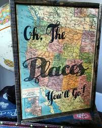 oh the places you ll go Dr Suesswood sign Map Decor wooden quote