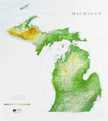 map of michigan michigan state raised relief map