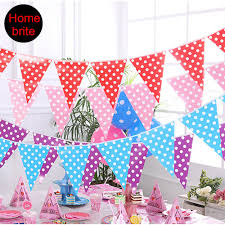 colorful pennant banner polka dot 10 flags for kids birthday party