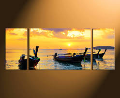 3 piece multi panel canvas yellow ocean canvas photography boat