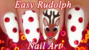 easy rudolph holiday nail art tutorial youtube