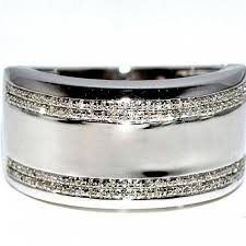 mens wedding rings white gold diamond wedding band ring wide 12 5mm comfort fit white gold fnish