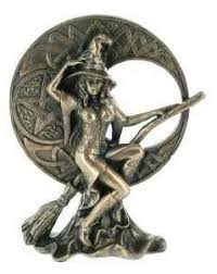 bronze effect witch with celtic moon ornament co uk