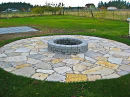 Flagstone Firepit Pit With Flagstone Patio Rustic Landscape Seattle By
