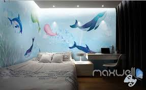 wallpaper for entire wall watercolor whale dophin blue entire room wallpaper wall mural art