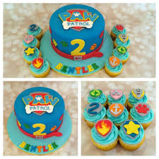 fondant paw patrol cake and cupcake decorating topper set