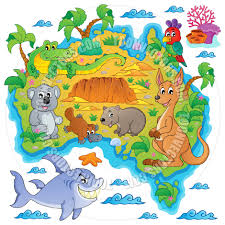 Australian Map Cartoon Australian Map Theme Image By Clairev Toon Vectors Eps